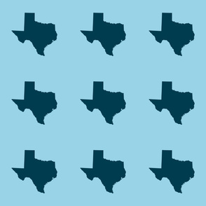 "Texas silhouette - 6"" navy on  light blue"