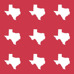 "Texas silhouette - 6"" white on red"