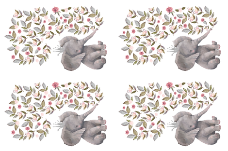 4 to 1 Yard of Minky / Baby Elephant with Flowers & Crown fabric by shopcabin on Spoonflower - custom fabric