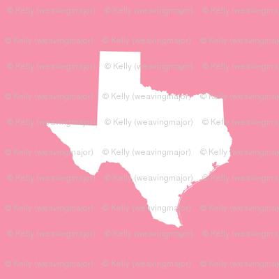 "Texas silhouette - 3"" white on pink"