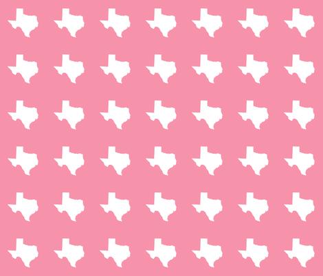 "Texas silhouette - 3"" white on pink fabric by weavingmajor on Spoonflower - custom fabric"