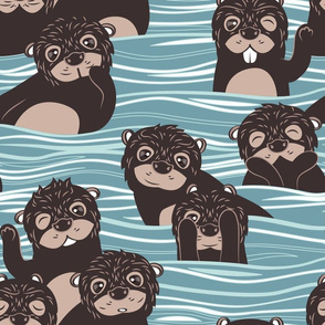 Otters dazzling the audience