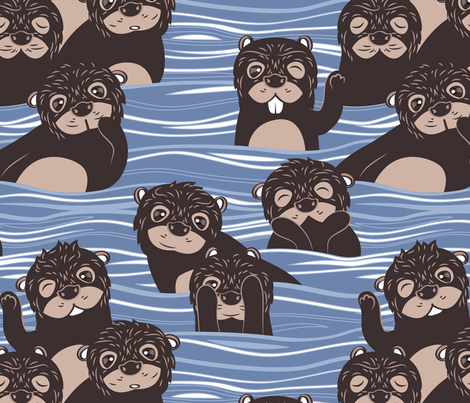 Otters dazzling the audience // blue background fabric by selmacardoso on Spoonflower - custom fabric