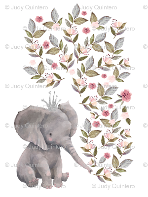 "27""x36"" / 2 to 1 Yard of Minky / Baby Elephant with Flowers & Crown"