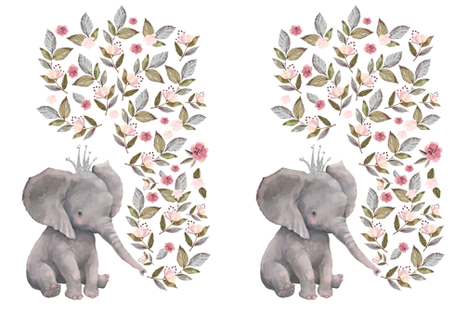 "27""x36"" / 2 to 1 Yard of Minky / Baby Elephant with Flowers & Crown fabric by shopcabin on Spoonflower - custom fabric"