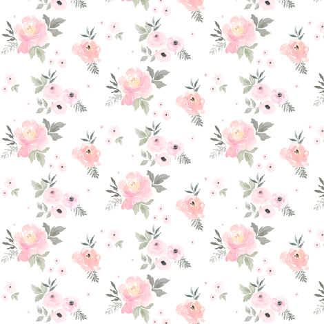 "2.5"" Sweet Blush Roses fabric by shopcabin on Spoonflower - custom fabric"