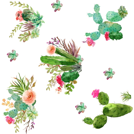 """8"""" Western Flowers - White / 90 degrees fabric by shopcabin on Spoonflower - custom fabric"""