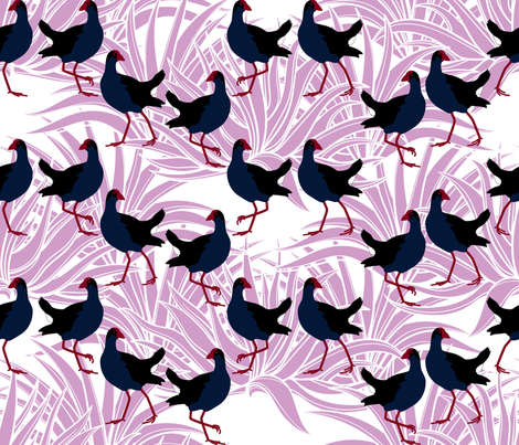 Pūkeko with flax (in orchid) fabric by plumbilly on Spoonflower - custom fabric