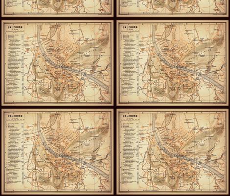 Salzburg map, Austria small fabric by svester on Spoonflower - custom fabric