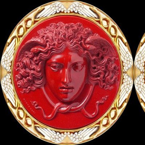 Medusa Versace inspired gold red white Greek Greece mythical baroque rococo wings