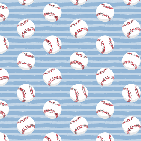 baseballs - light blue stripes fabric by littlearrowdesign on Spoonflower - custom fabric