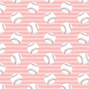 baseballs - pink stripes