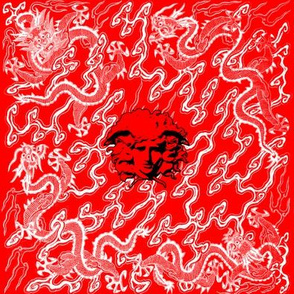 dragons clouds medusa asian japanese china chinese gorgons Greek Greece mythology far east meets west fusion oriental chinoiserie versace inspired red white black