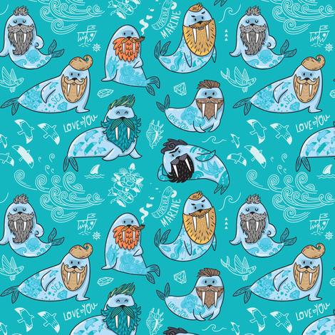 hipster walruses fabric by penguinhouse on Spoonflower - custom fabric