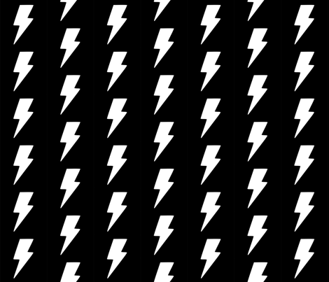 White Lightning Bolt on Black fabric by tilhengeraven on Spoonflower - custom fabric
