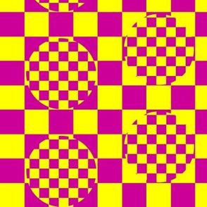 Yellow and Pink Circle Check