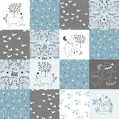Blue Quilt Nursery / Wholecloth quilt top / Quilt Fabric Bears/ Nursery Bears Fabric Woodland Wholecloth