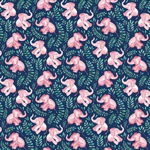 Tiny Laughing Pink Baby Elephants on Navy