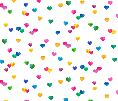 Rainbow hearts coordinate for Flamingo Love - white, large fabric by micklyn on Spoonflower - custom fabric