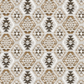 Small Scale Woven Textured Kilim - neutral brown, cream, warm grey