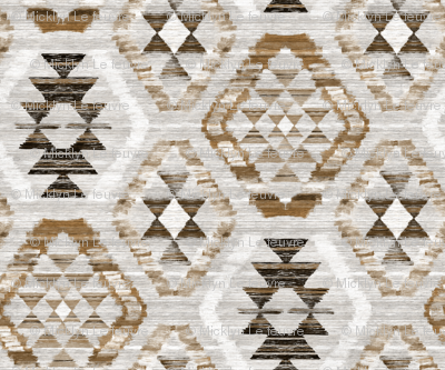 Large Scale Woven Textured Kilim - neutral brown, cream, warm grey
