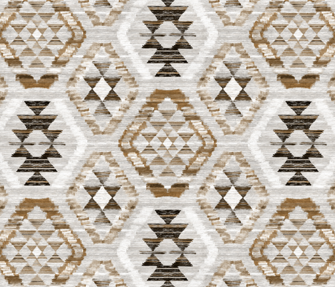Large Scale Woven Textured Kilim - neutral brown, cream, warm grey fabric by micklyn on Spoonflower - custom fabric