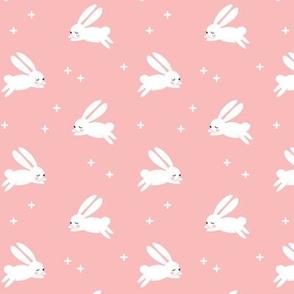 "1.25"" bunnies on pink C18BS"