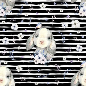 """8"""" Lilac Bunny - Black and White Stripes"""