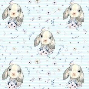 "4"" Lilac Bunny - Blue Stripes"