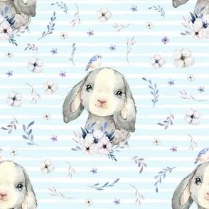 "8"" Lilac Bunny - Blue Stripes"