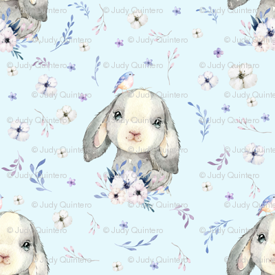 "8"" Lilac Bunny - Blue"