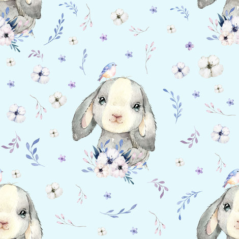 "8"" Lilac Bunny - Blue fabric by shopcabin on Spoonflower - custom fabric"