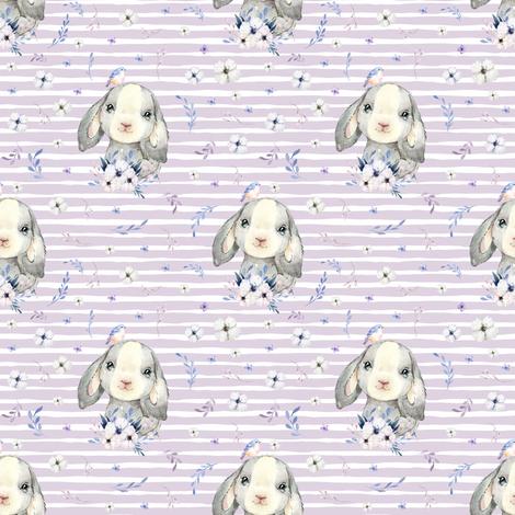 "4"" Lilac Bunny - Lilac Stripes fabric by shopcabin on Spoonflower - custom fabric"