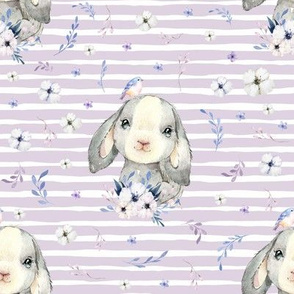 "8"" Lilac Bunny - Lilac Stripes"