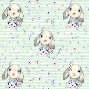 """4"""" Lilac Bunny - Minty Stripes"""