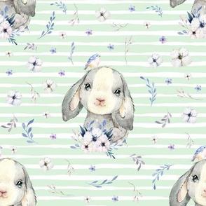 """8"""" Lilac Bunny - Minty Stripes"""