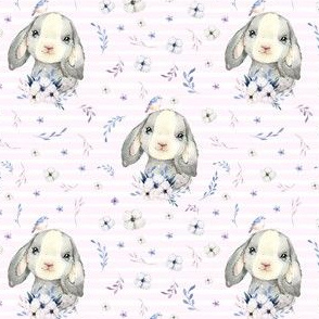 "4"" Lilac Bunny - Pink Stripes"