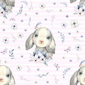 "8"" Lilac Bunny - Pink Stripes"