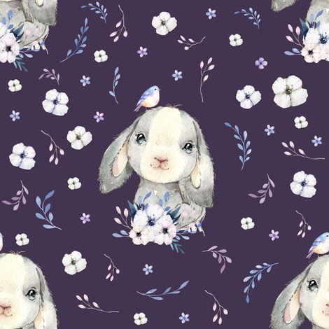 """8"""" Lilac Bunny - Violet fabric by shopcabin on Spoonflower - custom fabric"""