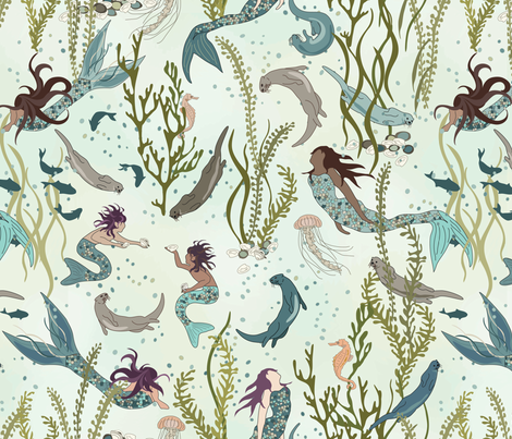 Mermaids and Otters - An Otter World  fabric by fernlesliestudio on Spoonflower - custom fabric