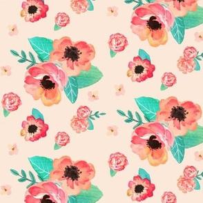 Summer Floral - Coral & Peach Flowers (on blush) Garden Blooms Baby Girl Nursery GingerLous B