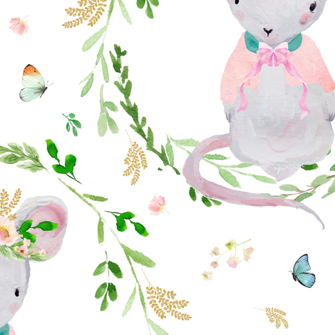 "14"" Lila the Mouse - Blush Pink fabric by shopcabin on Spoonflower - custom fabric"