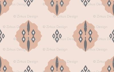 Boho Baby // Middle Eastern Metallic // Gunmetal Gray Cypress Trees + Diamonds on Blush Geometric