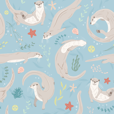Otterly Adorable fabric by juniperr on Spoonflower - custom fabric