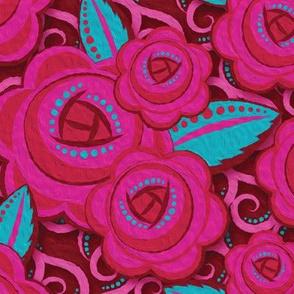 Roses Pink & Aqua - 1
