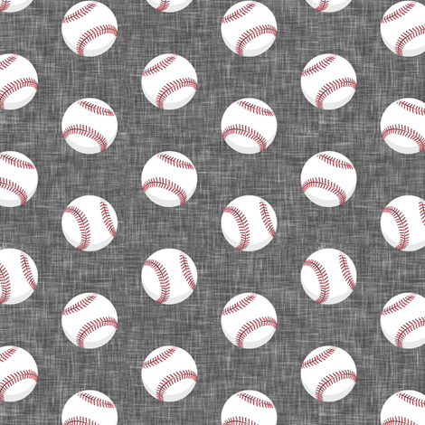 baseballs - grey linen fabric by littlearrowdesign on Spoonflower - custom fabric