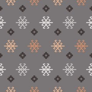 Boho Baby // Middle Eastern Metallic // Tribal Scorpion Symbol + Geometric Floral in Charcoal, Blush, & Snow
