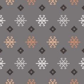 Boho Baby // Middle Eastern Metallic // Tribal Scorpion Symbol + Geometric Floral in Charcoal, Blush, & Snow