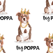"1.5"" Big Poppa - Red Pitbull - White with Quote"