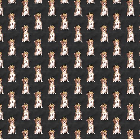 "1.5"" Big Poppa - Red Pitbull - Black fabric by rebelmod on Spoonflower - custom fabric"